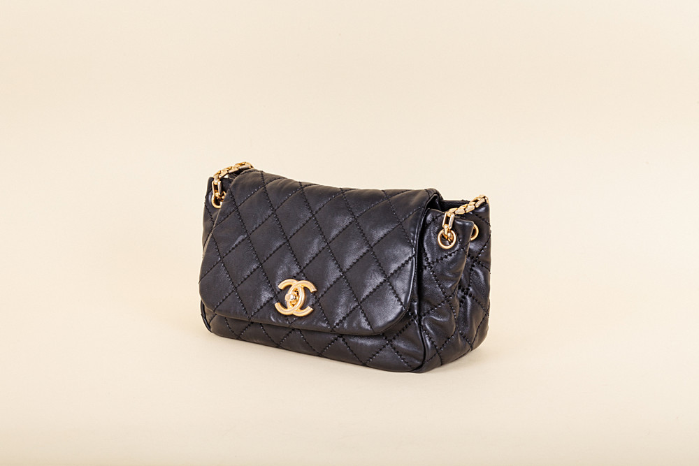 Chanel Calfskin Quilted Retro Chain Accordion Flap Bag  6180be57132db