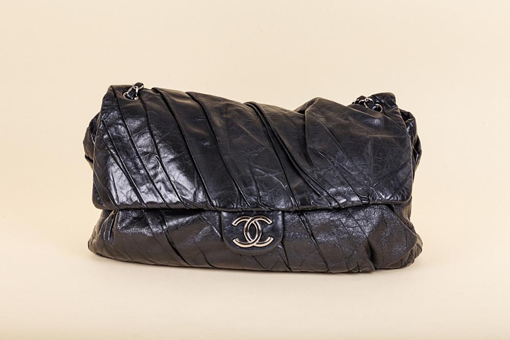 Chanel Pleated Wrinkled Leather Large Shoulder Bag  710de6820cc37