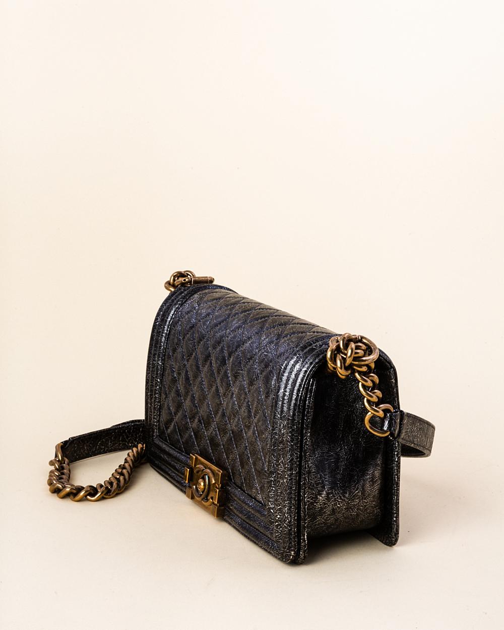 a3cdee88e2638d Chanel Cracked Metallic Calfskin Quilted Medium Boy Bag | Vivrelle