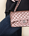 "HCC33 Fonce Quilted Striated Patent 10"" Medium Double Flap Classic Bag"