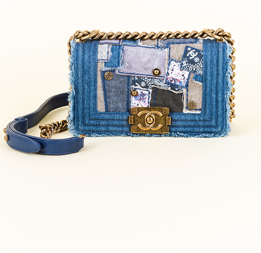 a3b77acb10e6cb Chanel Denim Patchwork Small Boy Flap Bag | Vivrelle